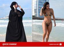 Modelo Liziane Gutiérrez utiliza Burka y bikini en Dubai