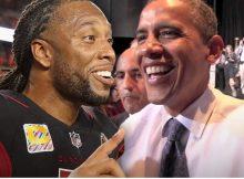 Larry Fitzgerald hunde el hoyo-en-uno en una ronda de golf con Barack Obama